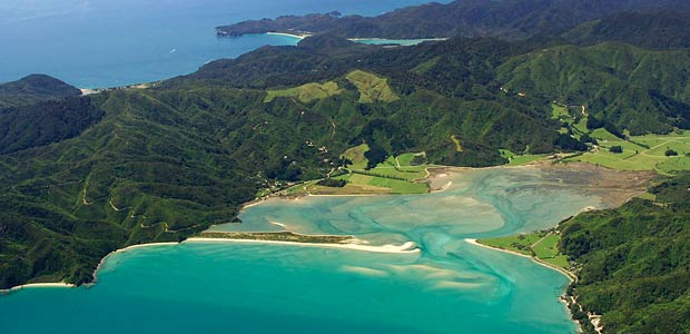 Golden Bay New Zealand  city photo : Wainui Bay from the air. Golden Bay Hideaway is in the centre of the ...